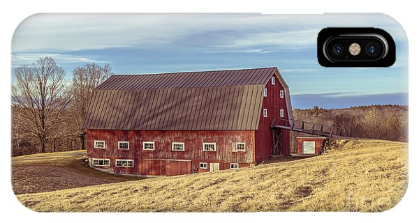 New England Barn iPhone Case - The Old Red Barn In Winter by Edward Fielding