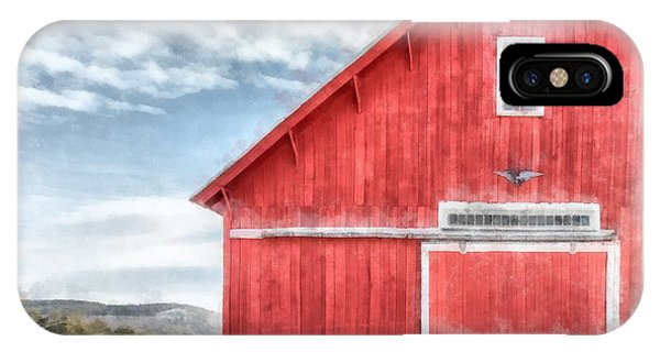 Barn Snow iPhone Case - The Old Red Barn Newport New Hampshire Watercolor by Edward Fielding