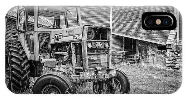 New England Barn iPhone Case - The Old Tractor By The Old Round Barn by Edward Fielding