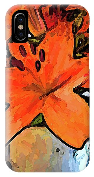 The Orange Lilies In The Mother Of Pearl Vase IPhone Case