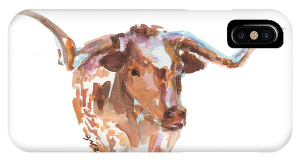 Cow iPhone Case - The Original Longhorn Standing Earth Quack Watercolor Painting By Kmcelwaine by Kathleen McElwaine