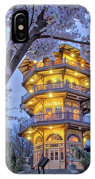 IPhone Case featuring the photograph The Pagoda In Spring At Blue Hour by Mark Dodd