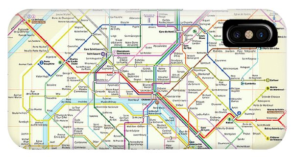 Paris Metro iPhone Case - The Paris Metro Map  by Digital Reproductions