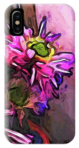 The Pink And Purple Flower By The Pale Pink Wall IPhone Case