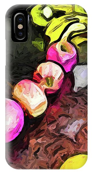 The Pink Apples In A Curve With The Yellow Lemons IPhone Case