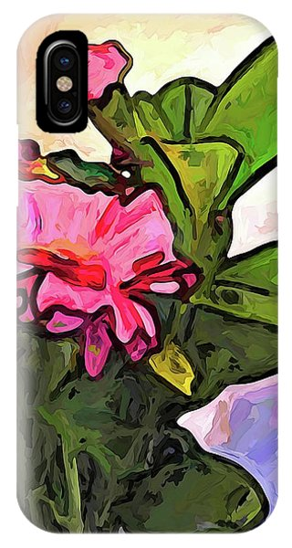 The Pink Flowers On The Left With The Green Leaves IPhone Case