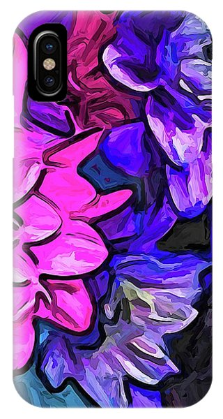 The Pink Petals With The Purple And Blue Flowers IPhone Case