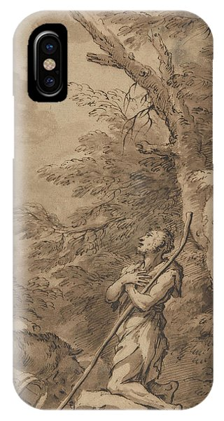 Rosa iPhone Case - The Prodigal Son Kneeling Repentant Among Swine by Salvator Rosa
