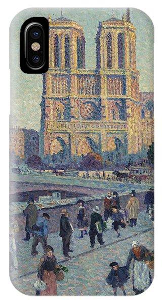French Painter iPhone Case - The Quai Saint-michel And Notre-dame by Maximilien Luce