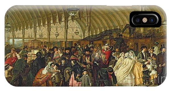 1862 iPhone Case - The Railway Station by William Powell Frith