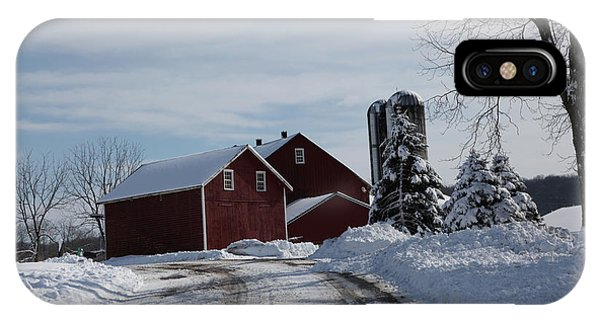 The Red Barn In The Snow IPhone Case