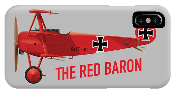 The Red Baron's Fokker Dr.1 - Side Print IPhone Case