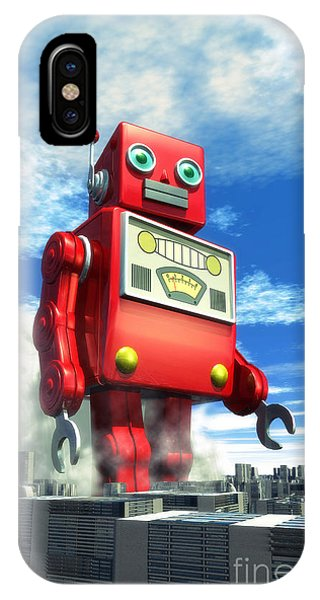Industrial iPhone Case - The Red Tin Robot And The City by Luca Oleastri