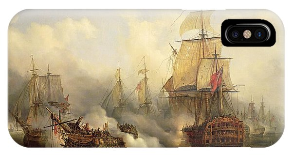 Boats iPhone Case - Unknown Title Sea Battle by Auguste Etienne Francois Mayer