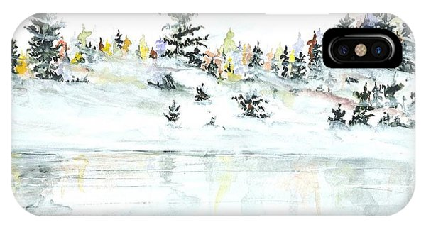 IPhone Case featuring the painting The Reflection Lake by Darren Cannell