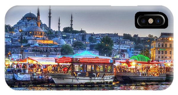Sunset iPhone Case - The Riverboats Of Istanbul by Michael Garyet