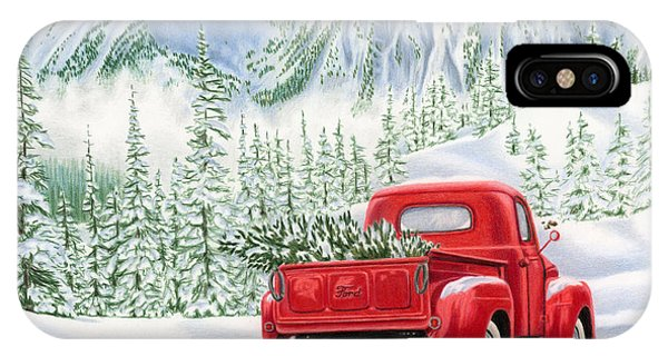 Christmas Tree iPhone Case - The Road Home by Sarah Batalka