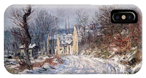 Snowy Road iPhone Case - The Road To Giverny In Winter by Claude Monet