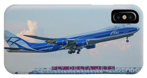 Alitalia iPhone Case - The Russian Connection Air Bridge Cargo Abc B747-8f Cargo Jet Art by Reid Callaway