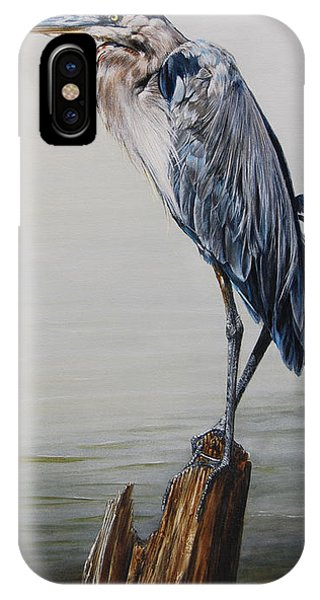 The Sentinel - Portrait Of A Great Blue Heron IPhone Case