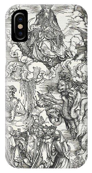Albrecht Durer iPhone Case - The Seven-headed Beast And The Beast With Lamb's Horns by Albrecht Durer