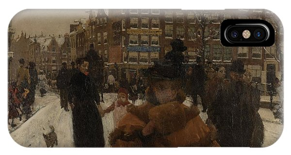The Singel Bridge At The Paleisstraat In Amsterdam, 1896 IPhone Case