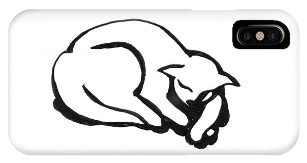 IPhone Case featuring the drawing The Sleeping Cat by Keith A Link