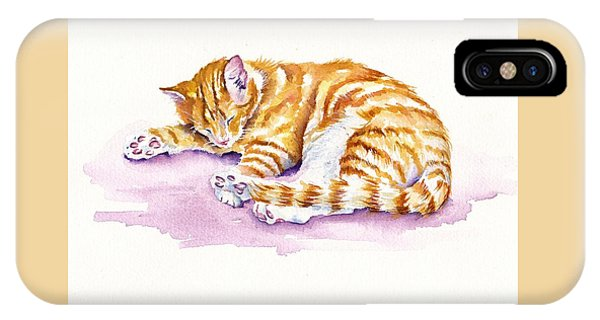 Cat iPhone Case - The Sleepy Kitten by Debra Hall