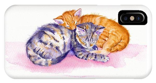 Cat iPhone Case - The Sleepy Kittens by Debra Hall