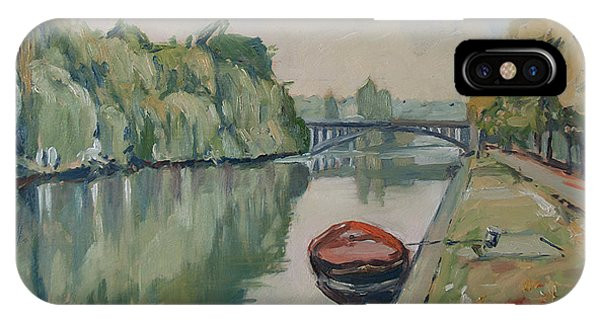 The Small Boat Along The Quai Of Halage Vise IPhone Case