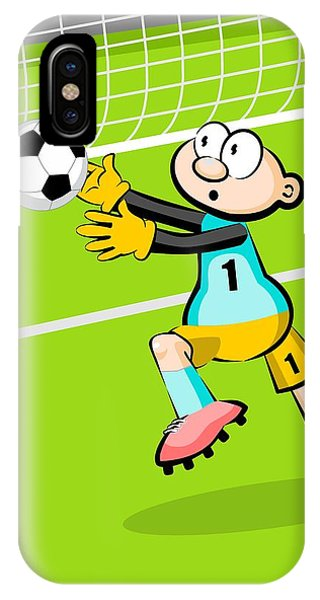 The Soccer Goalkeeper Stretches His Arms To Catch The Ball IPhone Case
