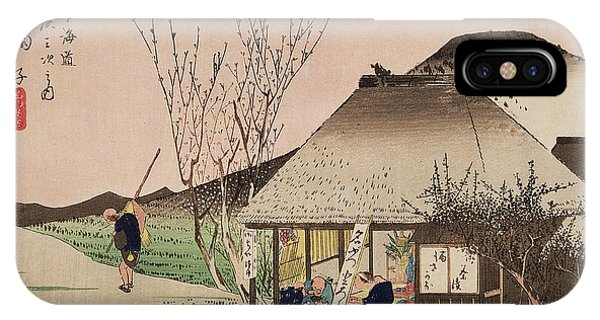 Staff iPhone Case - The Teahouse At Mariko by Hiroshige