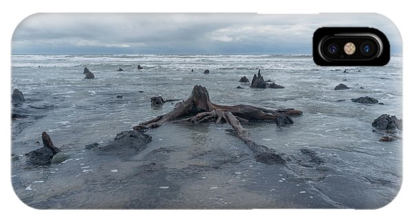 The Tide Comes In Over The Bronze Age Sunken Forest At Borth On The West Wales Coast Uk IPhone Case