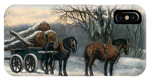 The Timber Wagon In Winter IPhone Case