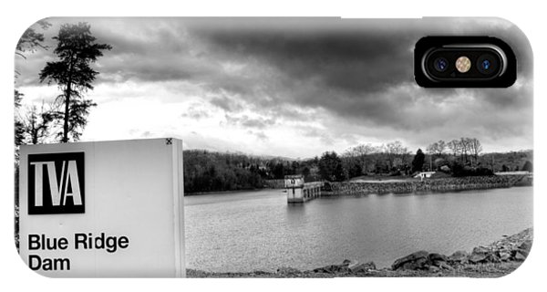 The Top Of Blue Ridge Dam In Black And White IPhone Case
