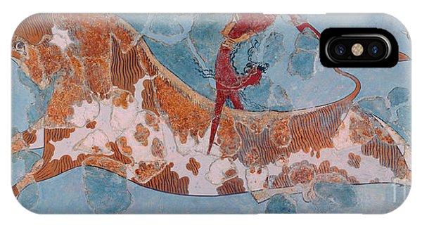 Minotaur iPhone Case - The Toreador Fresco, Knossos Palace, Crete by Greek School