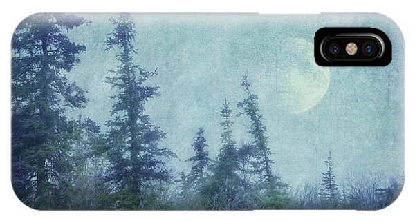 Teal iPhone Case - The Trees And The Moon by Priska Wettstein