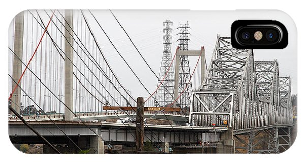 The Two Carquinez Bridges At Crockett And Vallejo California . Aka Alfred Zampa Memorial Bridge . 7d8919 IPhone Case