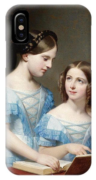 Table For Two iPhone Case - The Two Sisters by Nicolas Louis Francois Gosse