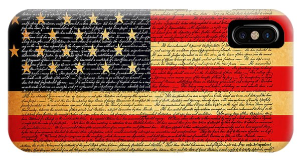 The United States Declaration Of Independence - American Flag - Square IPhone Case