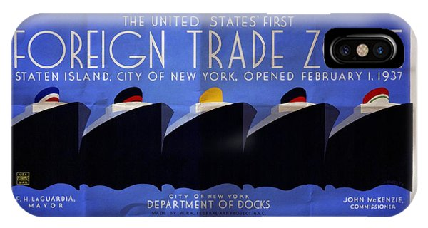 The United States' First Foreign Trade Zone - Vintage Poster Folded IPhone Case
