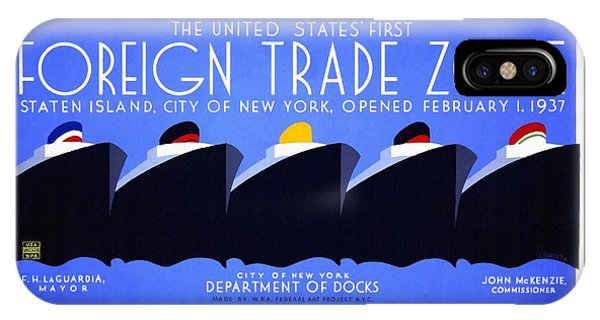 The United States' First Foreign Trade Zone - Vintage Poster Restored IPhone Case