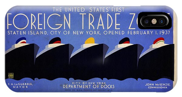 The United States' First Foreign Trade Zone - Vintage Poster Vintagelized IPhone Case