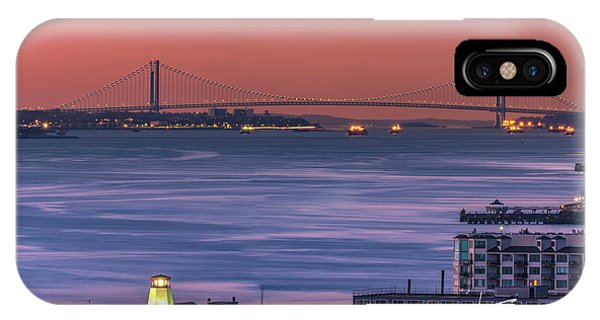 IPhone Case featuring the photograph The Verrazano Bridge At Sunrise by Francisco Gomez