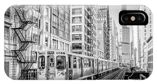 The Wabash L Train In Black And White IPhone Case