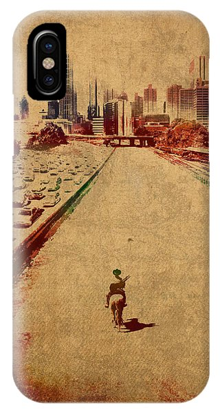 The Walking Dead Watercolor Portrait On Worn Distressed Canvas No 2 IPhone Case