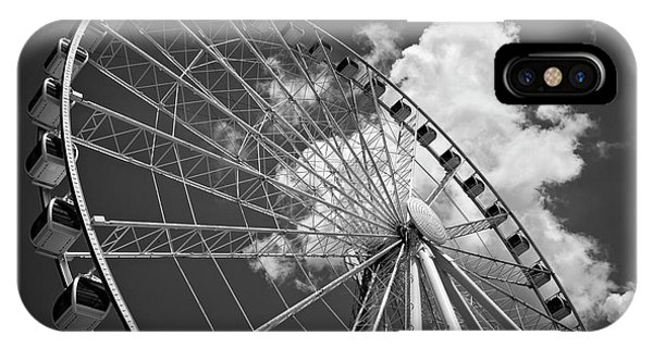The Wheel And Sky In Black And White IPhone Case