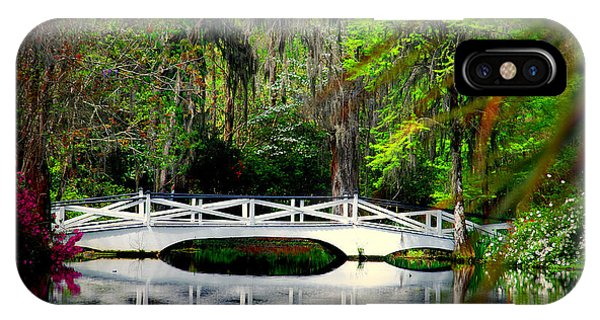 The White Bridge In Magnolia Gardens Sc IPhone Case