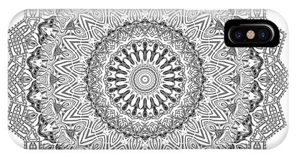 IPhone Case featuring the digital art The White Mandala No. 3 by Joy McKenzie