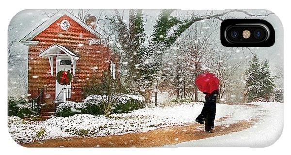 Umbrella Pine iPhone Case - The Winter Cottage by Darren Fisher